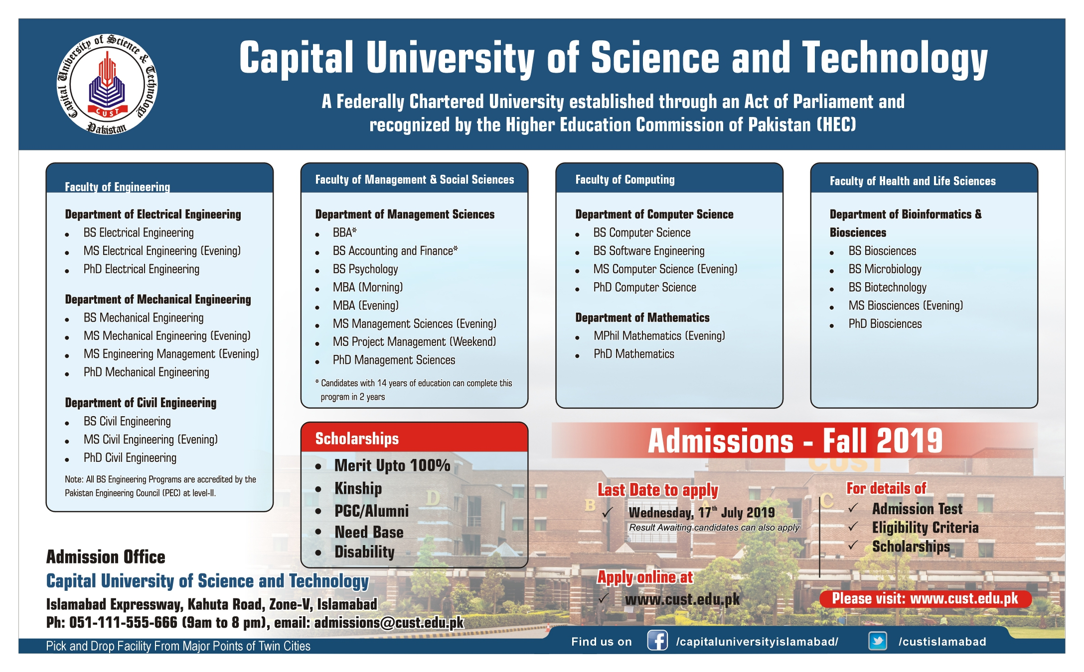 Admission Ad Fall 2019 - Capital University of Science